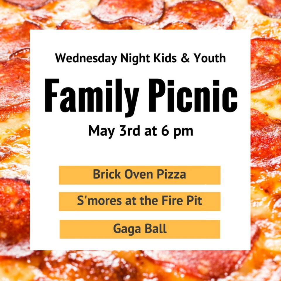 Wednesday Night Children and Youth Picnic & Pizza